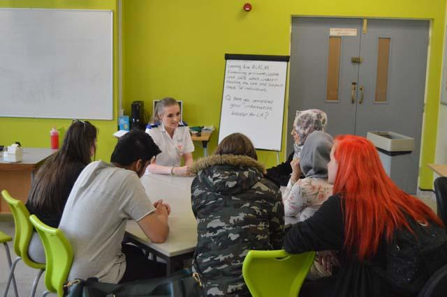 Imogen, former student, talks to Health & Social Care Students about Nursing news image